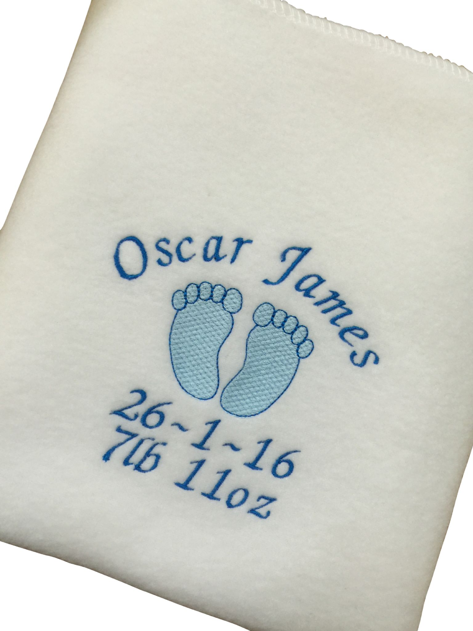 Personalised baby blanket baby feet design pink or blue negle Images